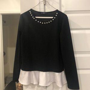 Pearl collar peplum blouse